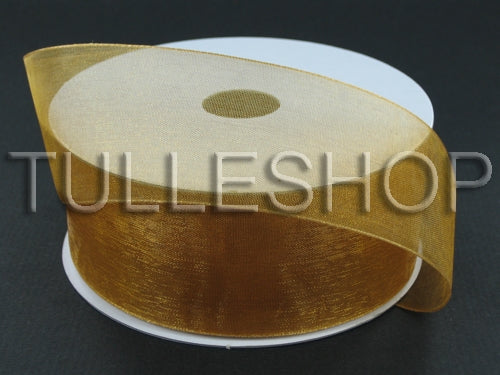 3/8 Inch Old Gold Organza Ribbons