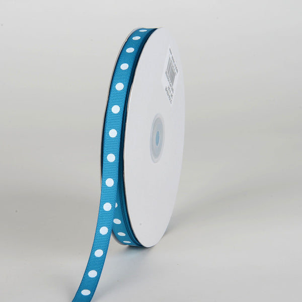 Grosgrain Ribbon Polka Dot Turquoise with White Dots ( W: 3/8 inch | L: 50 Yards )
