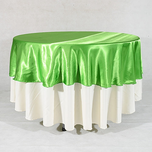 Apple Green 70 Inch Round Satin Tablecloths