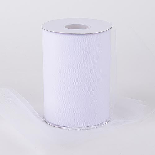 White 6 Inch Tulle Fabric Roll 100 Yards