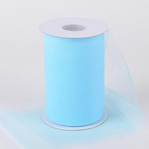 Light Blue 6 Inch Tulle Fabric Roll 100 Yards