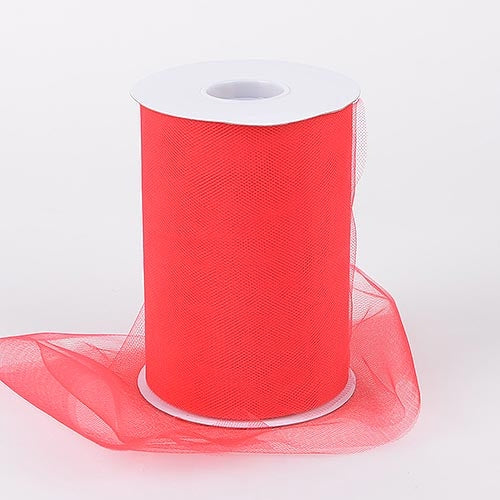 Red 6 Inch Tulle Fabric Roll 100 Yards