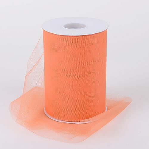 Pre-Order Now and Ship On Oct 25th! - Orange 6 Inch Tulle Fabric Roll 100 Yards