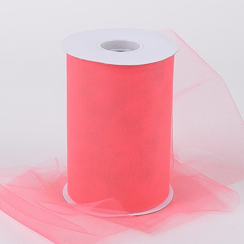 Coral 6 Inch Tulle Fabric Roll 100 Yards