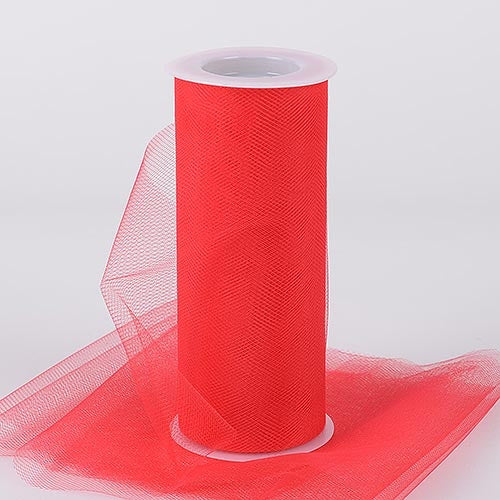 Red 6 Inch Tulle Fabric Roll 25 Yards