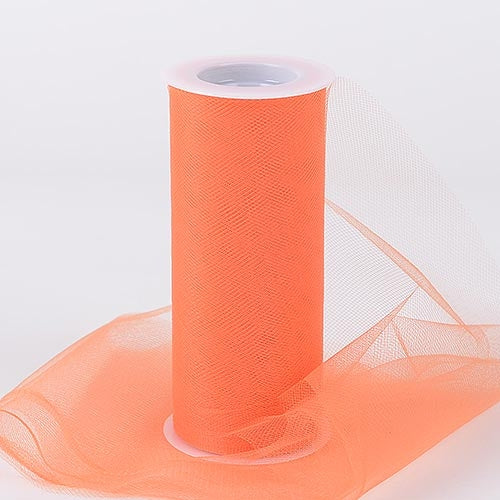 Orange 6 Inch Tulle Fabric Roll 25 Yards