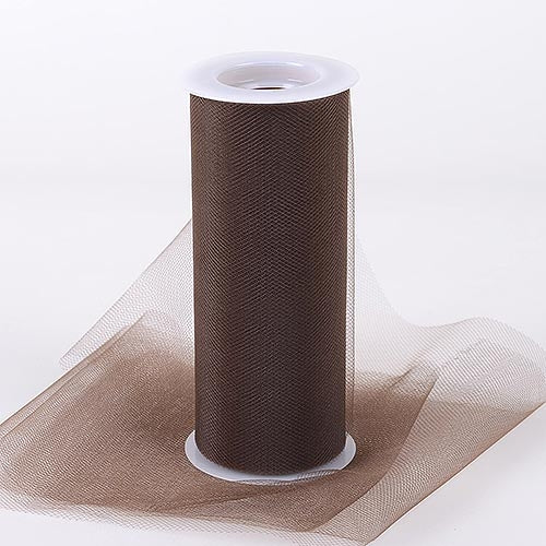 Brown 6 Inch Tulle Fabric Roll 25 Yards