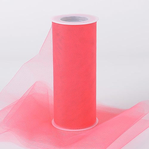 Coral 6 Inch Tulle Fabric Roll 25 Yards
