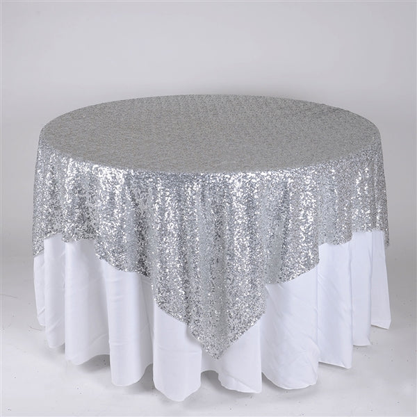 Silver 72 Inch x 72 Inch Square Duchess Sequin Overlay