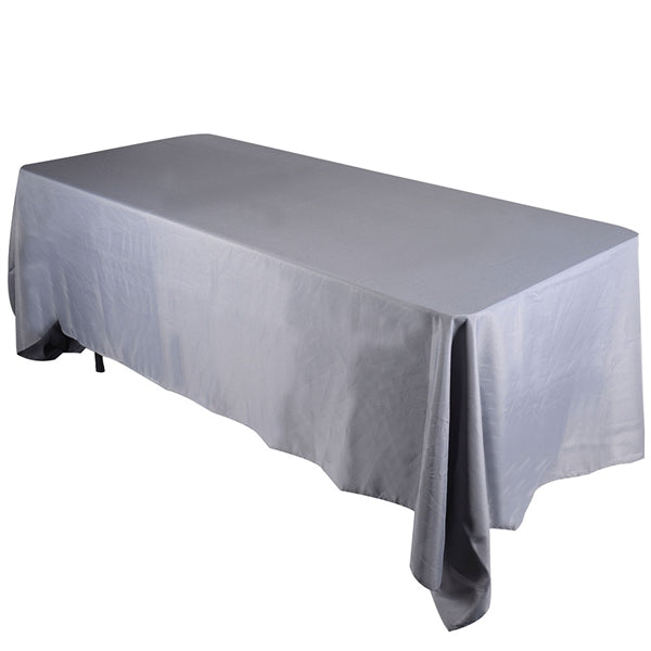Silver - 90 x 132 Rectangle Tablecloths - ( 90 inch x 132 inch )