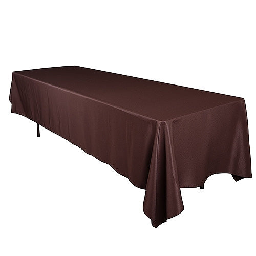 Chocolate Brown 90 x 132 Inch Polyester Rectangle Tablecloths