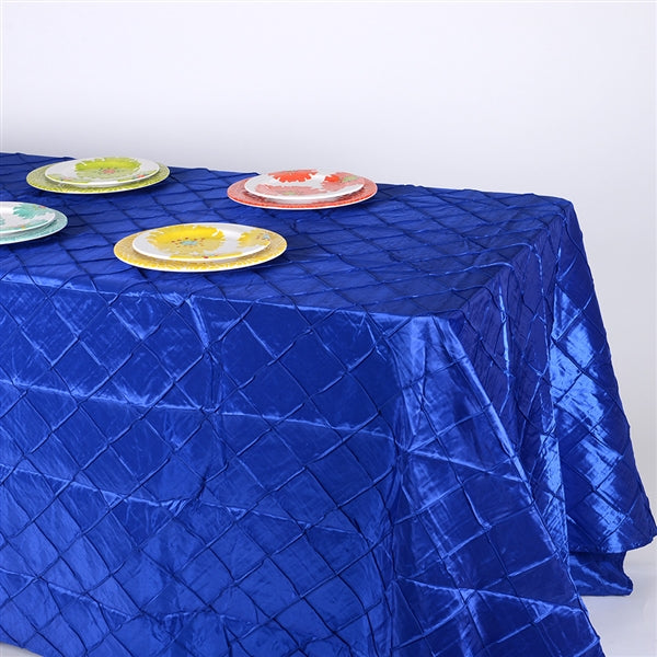Royal - 90 inch x 132 inch Pintuck Satin Tablecloth