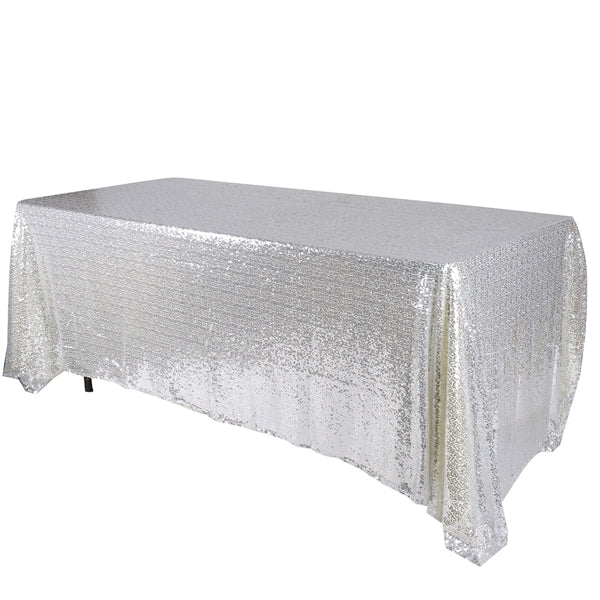 Silver 90x132 inch Rectangular Duchess Sequin Tablecloth