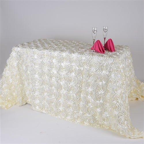 Ivory 90 Inch x 156  Inch Rectangle Rosette Tablecloths
