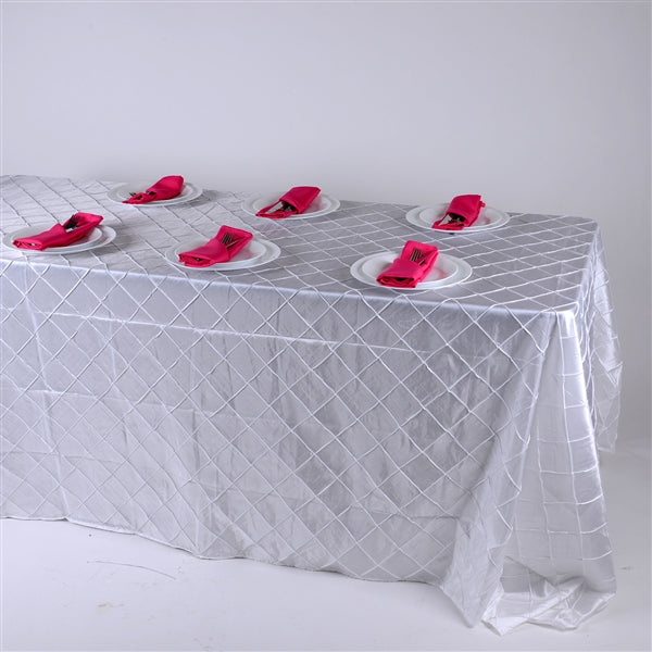White - 90 inch x 156 inch - Pintuck Satin Tablecloth