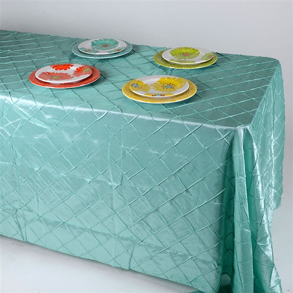 Aqua Blue - 90 inch x 156 inch - Pintuck Satin Tablecloth