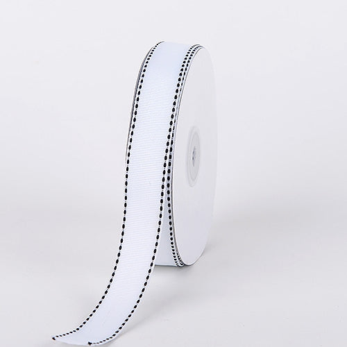 5/8 Inch White Stitch Design Grosgrain Ribbon 25 Yards