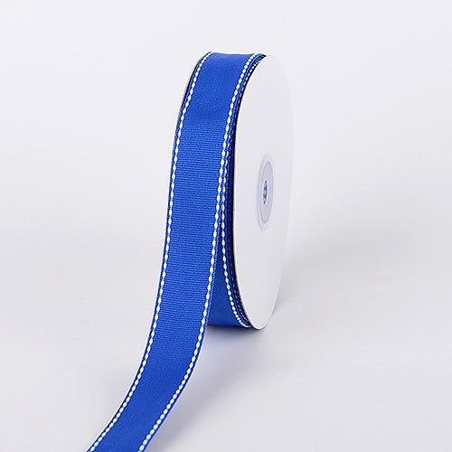 5/8 Inch Royal Blue Stitch Design Grosgrain Ribbon 25 Yards