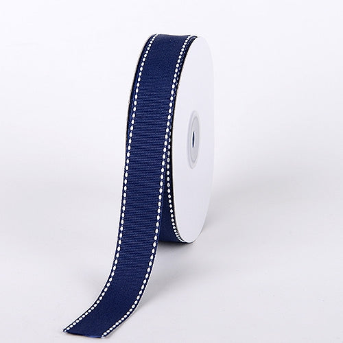 5/8 Inch Navy Blue Stitch Design Grosgrain Ribbon 25 Yards