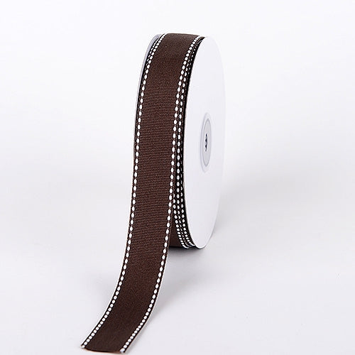 5/8 Inch Chocolate Brown Stitch Design Grosgrain Ribbon 25 Yards