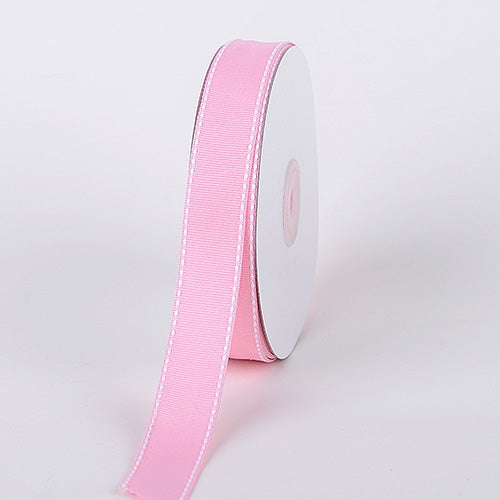 7/8 Inch Pink Stitch Design Grosgrain Ribbon 25 Yards