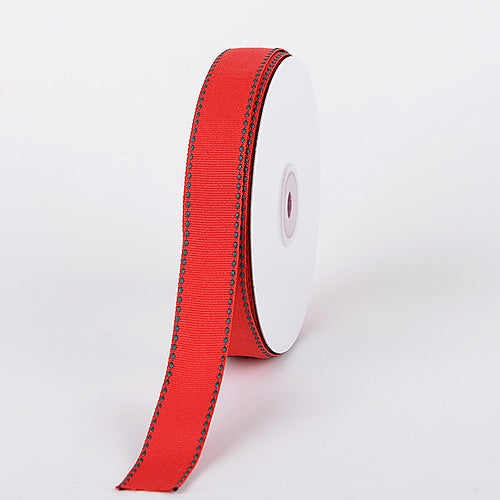 7/8 Inch Red w/ Hunter Stitch Design Grosgrain Ribbon 25 Yards