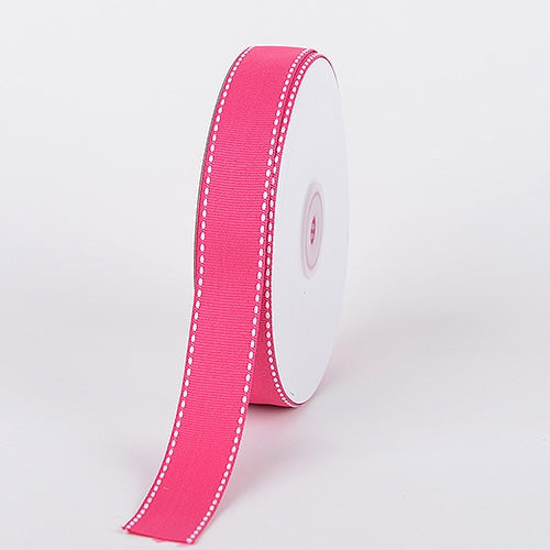 7/8 Inch Fuchsia Stitch Design Grosgrain Ribbon 25 Yards