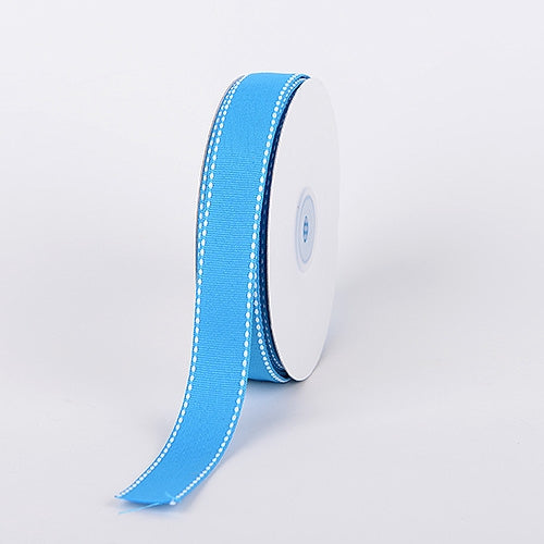7/8 Inch Turquoise Stitch Design Grosgrain Ribbon 25 Yards