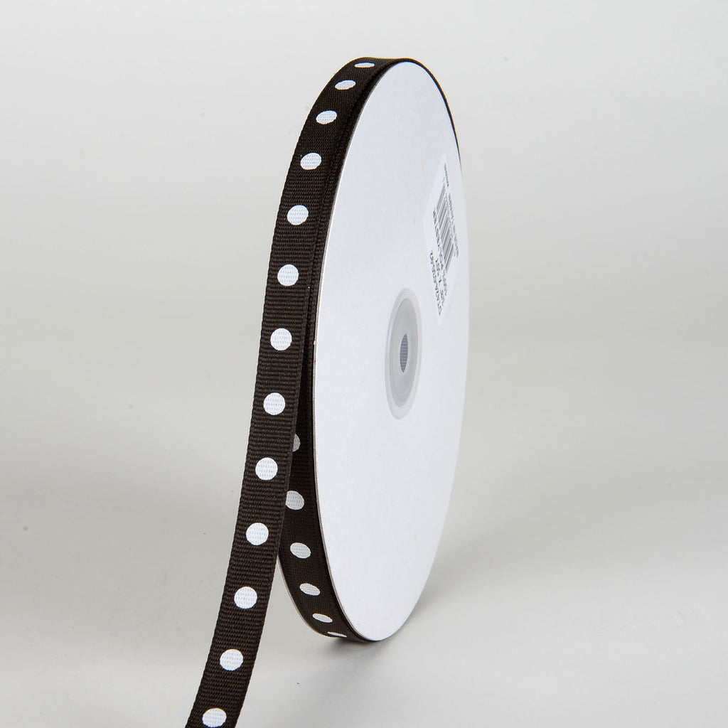 Grosgrain Ribbon Polka Dot Chocolate Brown with White Dots ( W: 3/8 inch | L: 50 Yards )