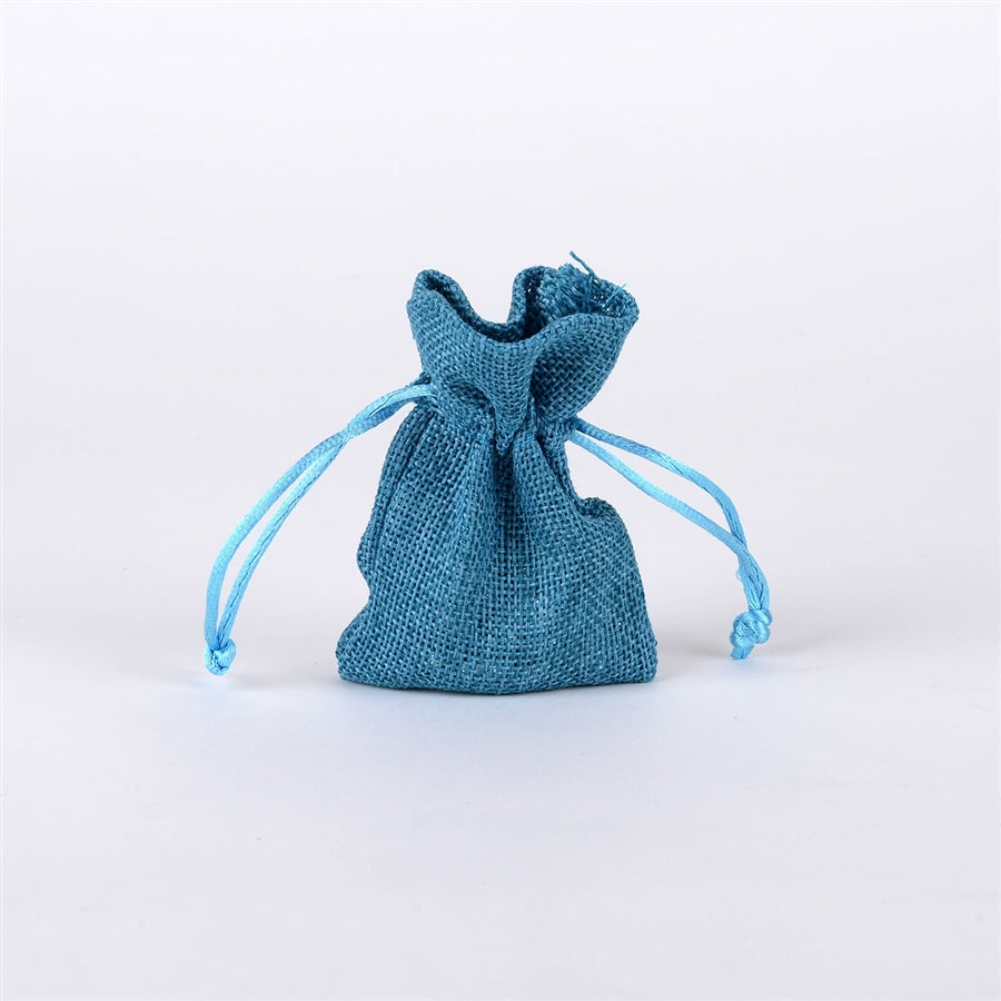 Turquoise - 3 inch x 4 inch Burlap Bags