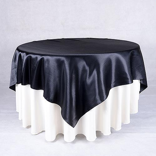 Black - 90 x 90 Square Satin Table Overlays