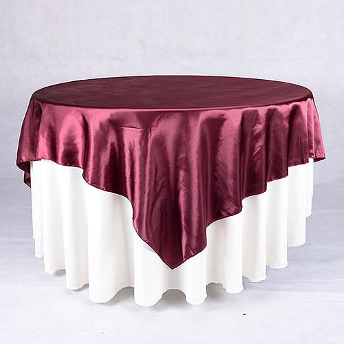 Burgundy - 90 x 90 Square Satin Table Overlays