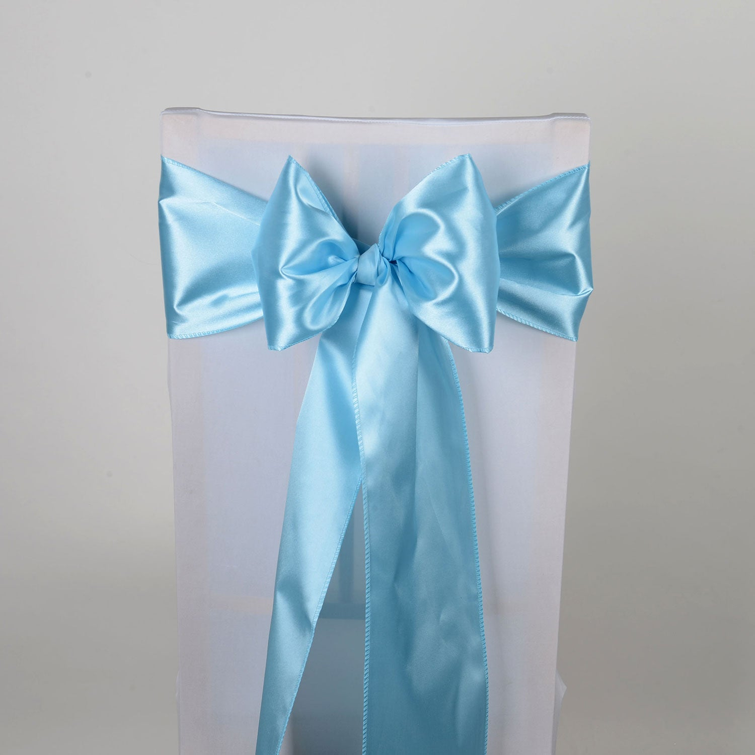 Light Blue - Satin Chair Sash - ( Pack of 10 Piece - 6 inches x 106 inches )