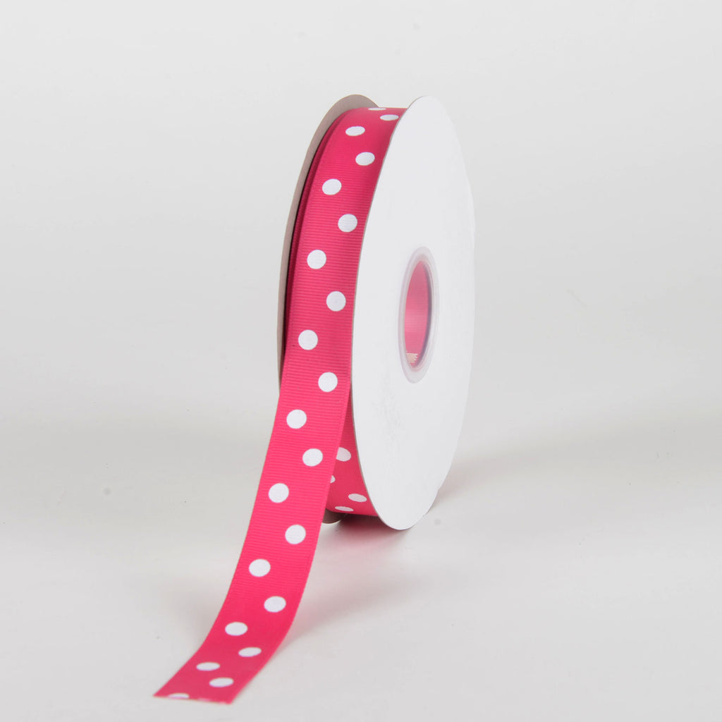 Grosgrain Ribbon Polka Dot Fuchsia with White Dots ( 7/8 inch | 50 Yards )