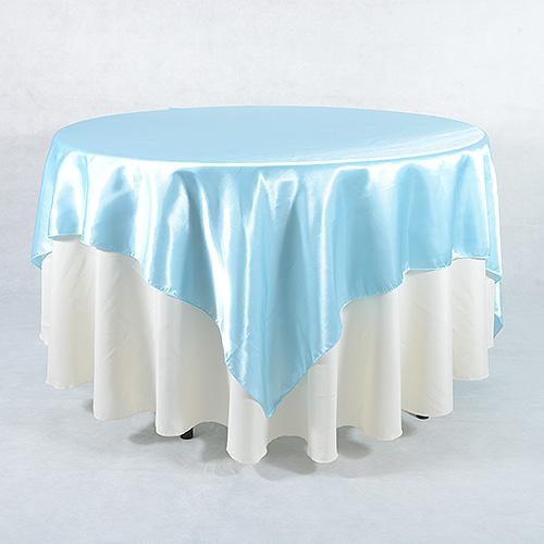 Light Blue - 90 x 90 Square Satin Table Overlays