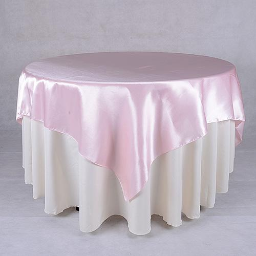 Light Pink - 90 x 90 Square Satin Table Overlays