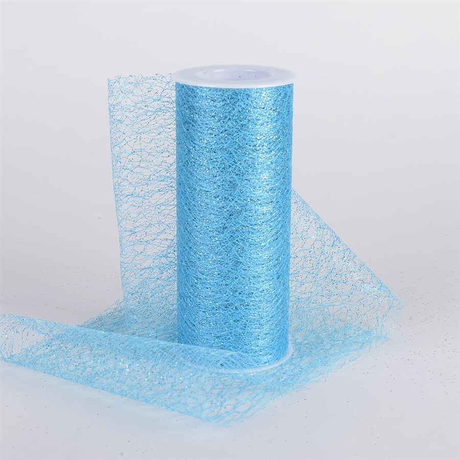 6 x 10 Yd Glitter Sisal Mesh Roll -  Light Blue