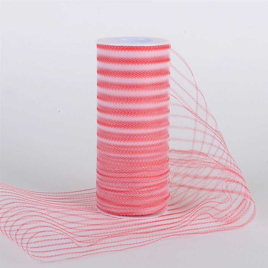 6 Inch Multi Striped Tulle -  Red