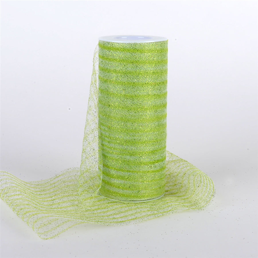 6 Inch Glitter Multi Striped Tulle -  Apple Green