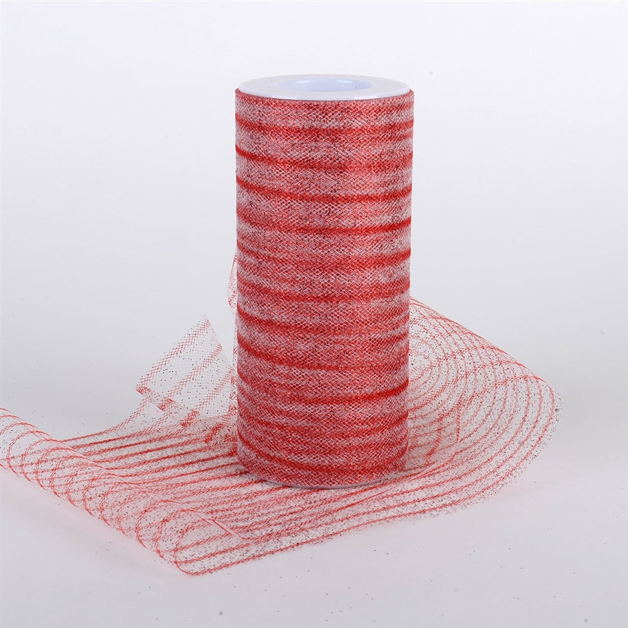 6 Inch Glitter Multi Striped Tulle -  Red