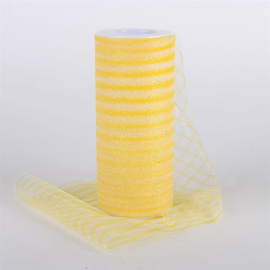 6 Inch Glitter Multi Striped Tulle -  Yellow