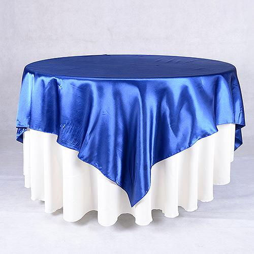 Navy Blue - 90 x 90 Square Satin Table Overlays