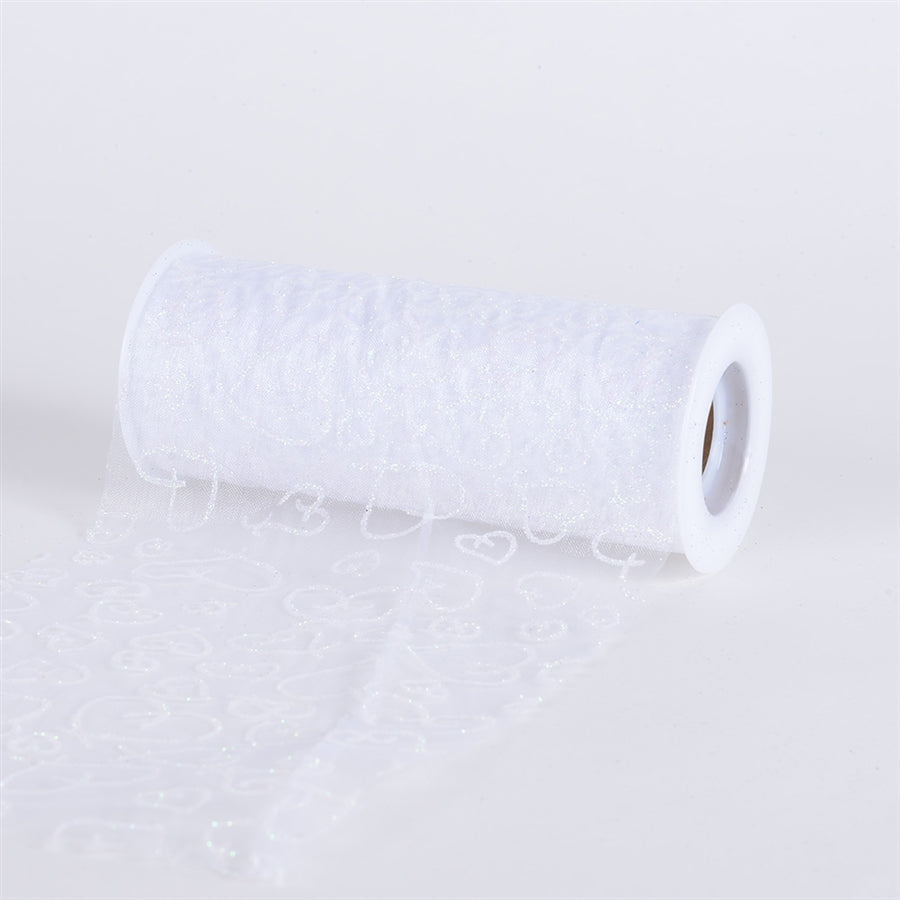 White Glitter Heart Organza 6 Inch Roll 10 Yards