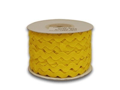 Yellow 10 mm Ric Rac Trim 25 Yards