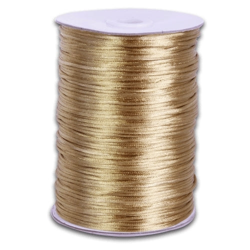 Gold 2 mm Rattail Satin Cord 100 Yards