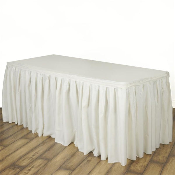 Ivory Polyester Table Skirt 14 Feet