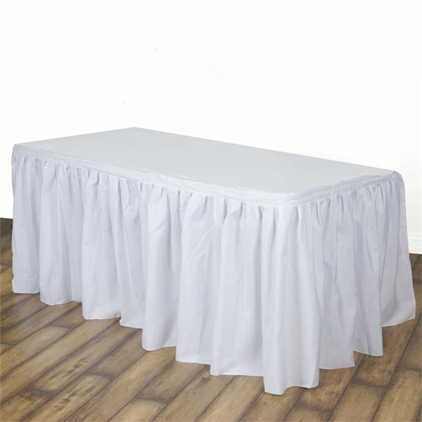 White Polyester Table Skirt 14 Feet