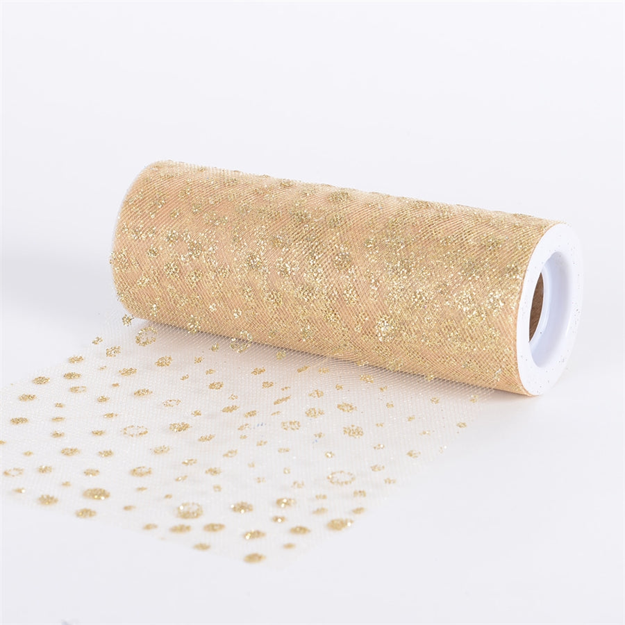 Gold Sparkle Dot 6 Inch Roll 10 Yards