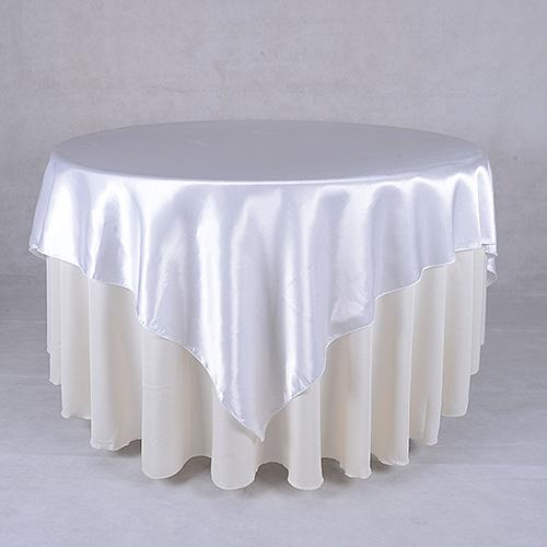 White - 90 x 90 Square Satin Table Overlays