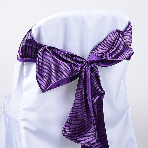 Purple - Animal Print Satin Chair Sash - ( Pack of 10 Pieces - 6 inches x 106 inches )